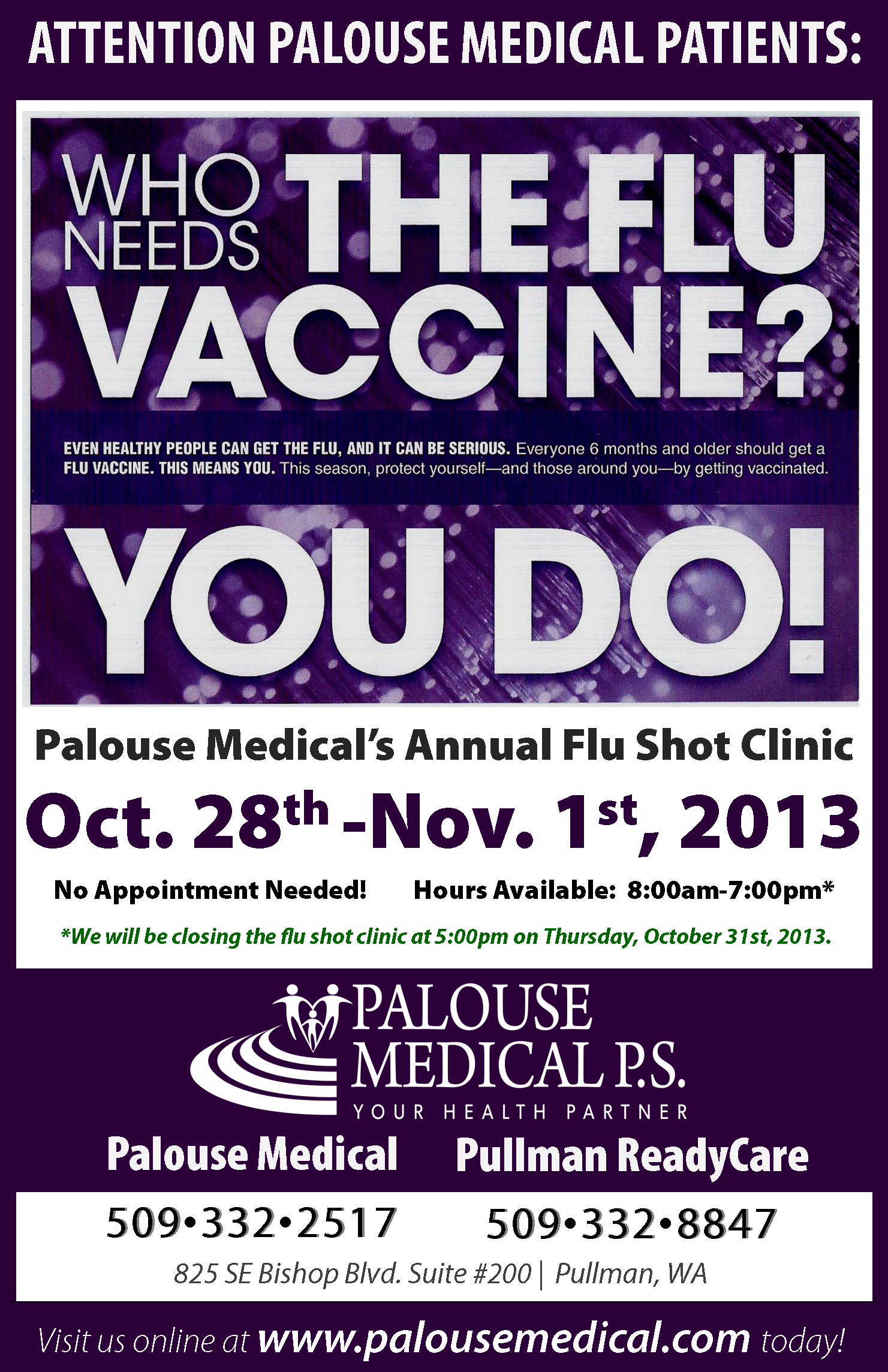2013 October - Palouse Medical - Flu Clinic