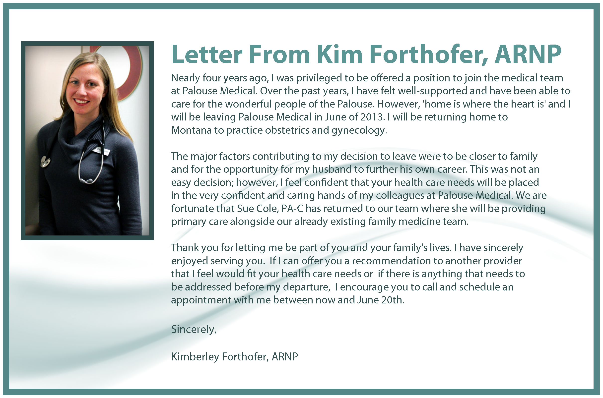 Kim Forthofer Farewell Letter Image - May 2013