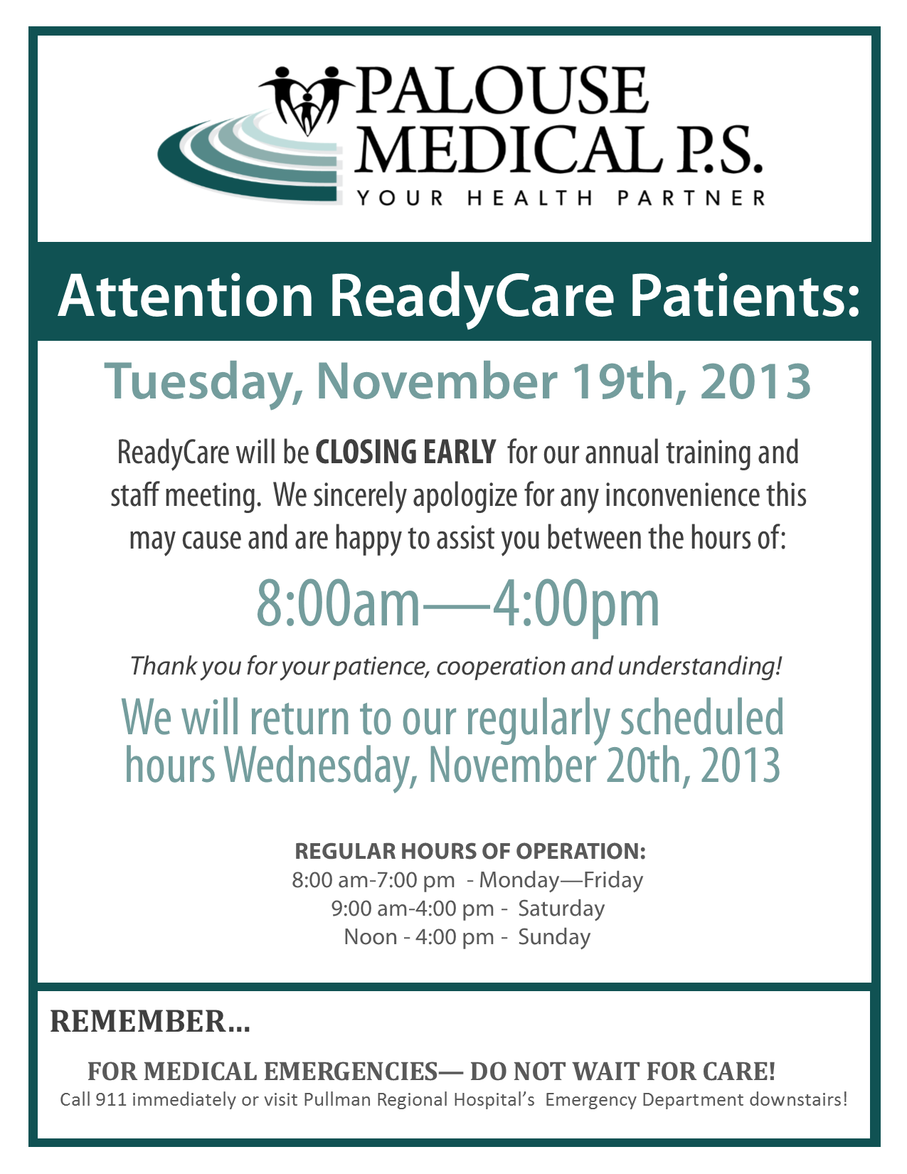 RC Closing Early Sign for staff meeting - Nov 2013