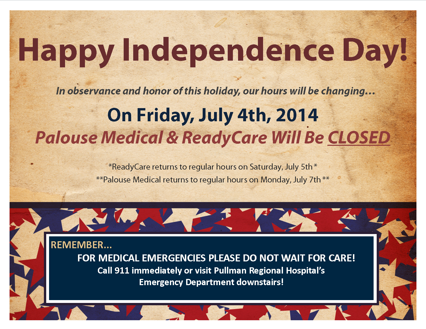 4th of july 2014 office closed signs