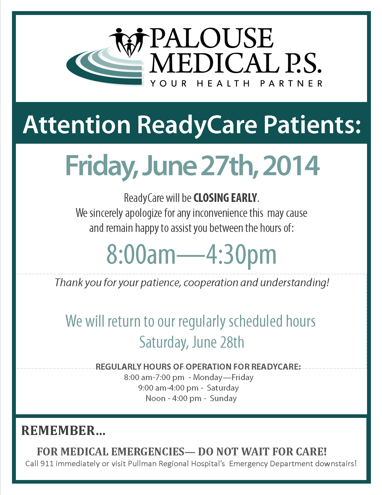 RC Closing Early Sign 2014 - June 27