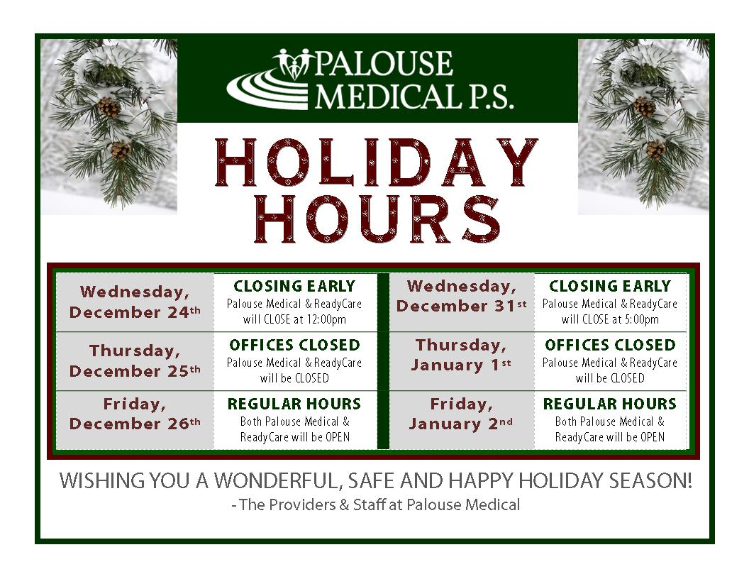 Winter Holiday Hours 2014-2015