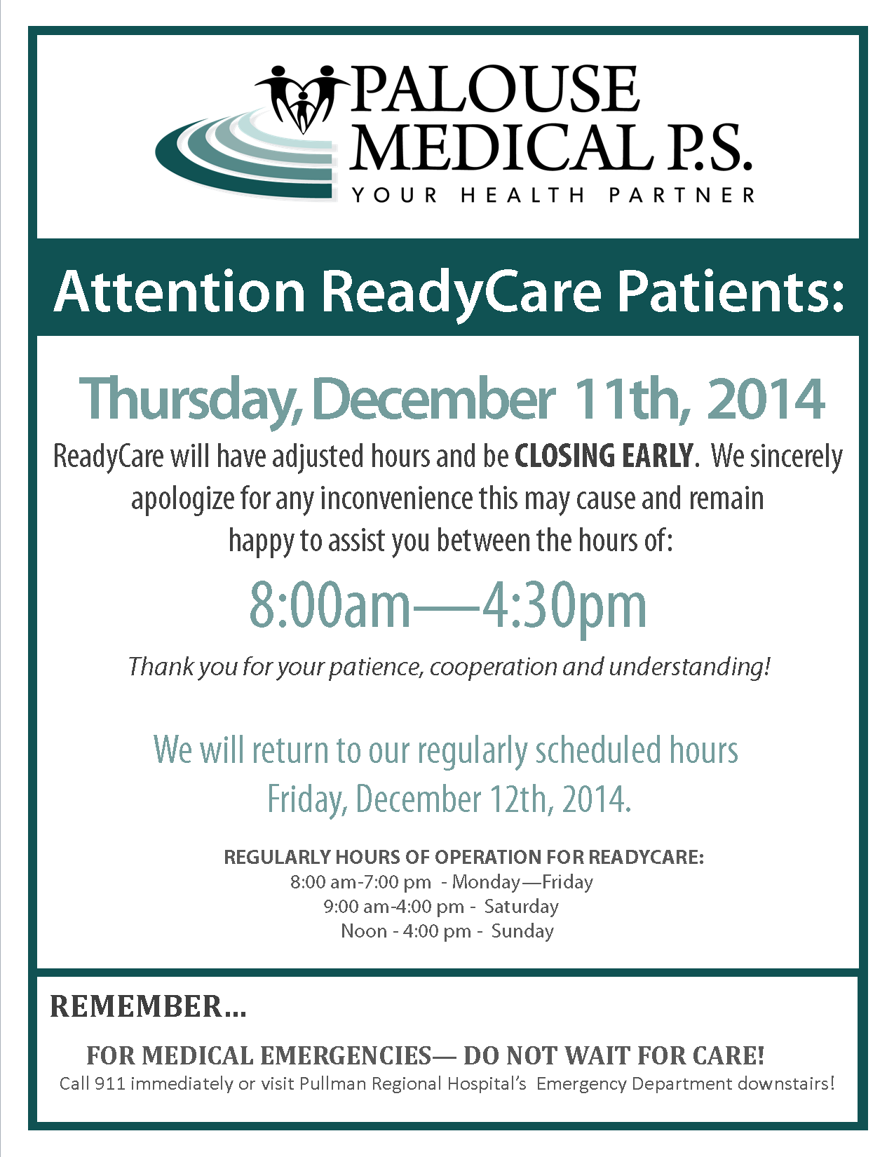 RC Closing Early Sign 2014 - Dec 11