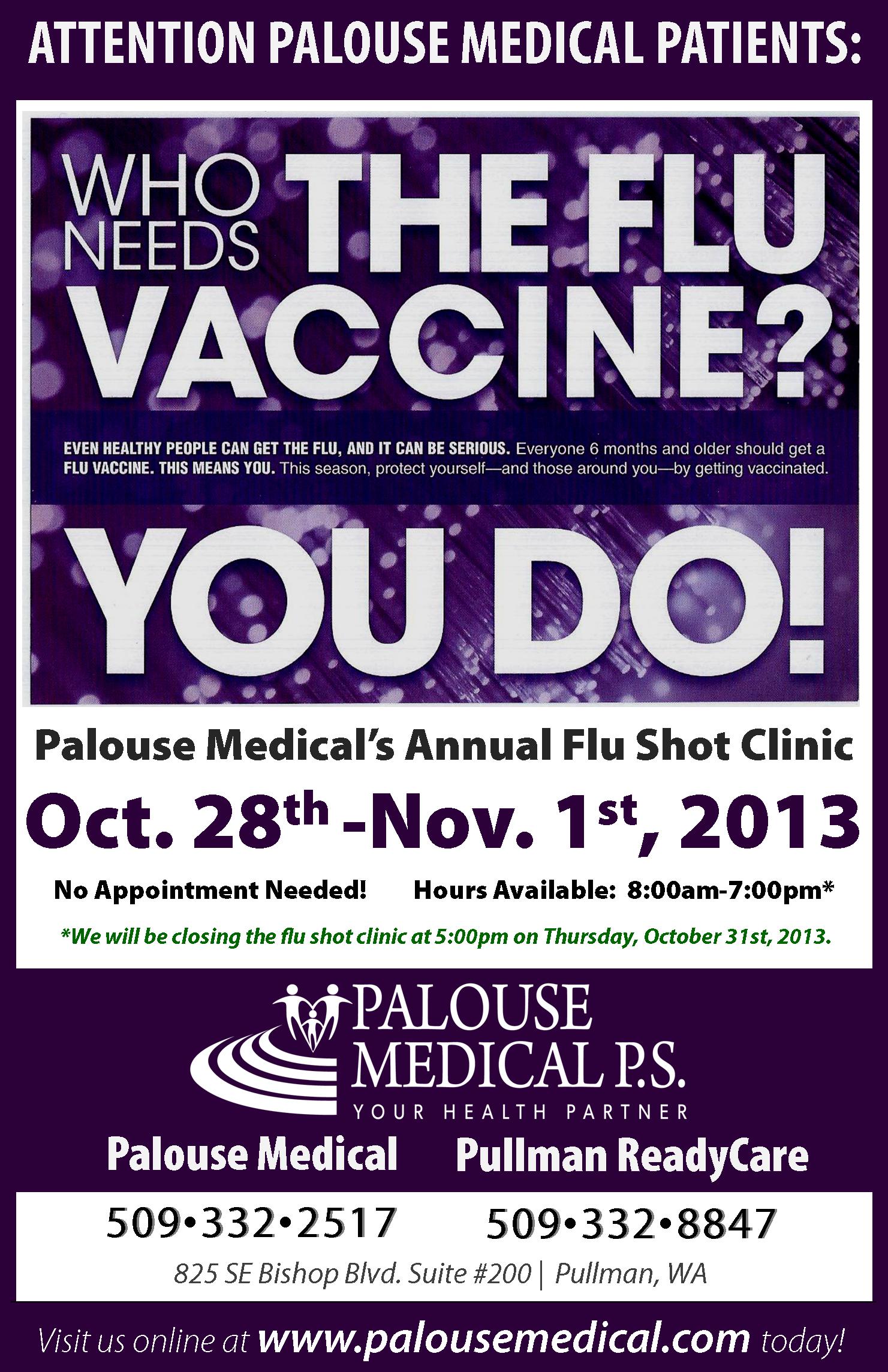 2013 October - Palouse Medical - Flu Clinic