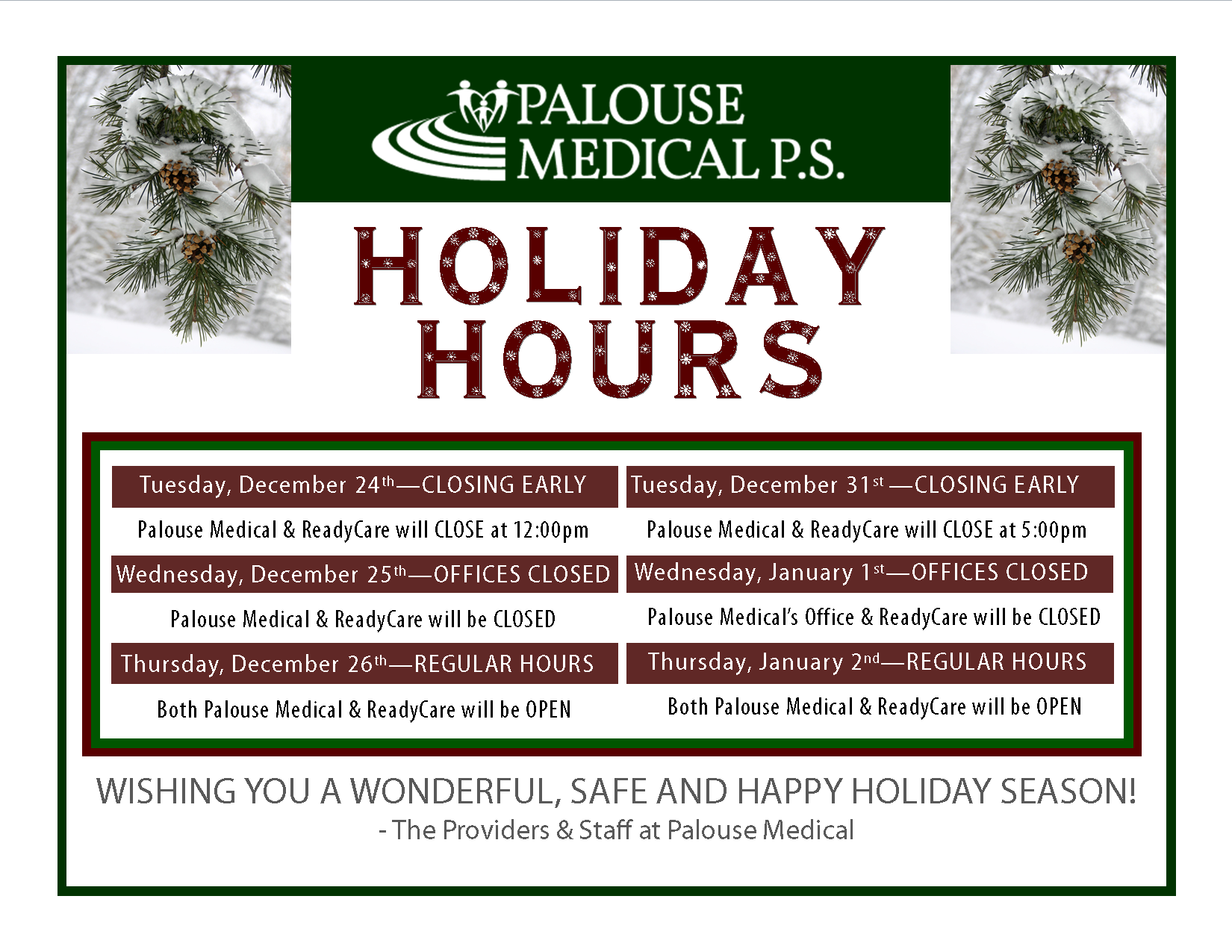 Winter Holiday Hours - 2013-2014