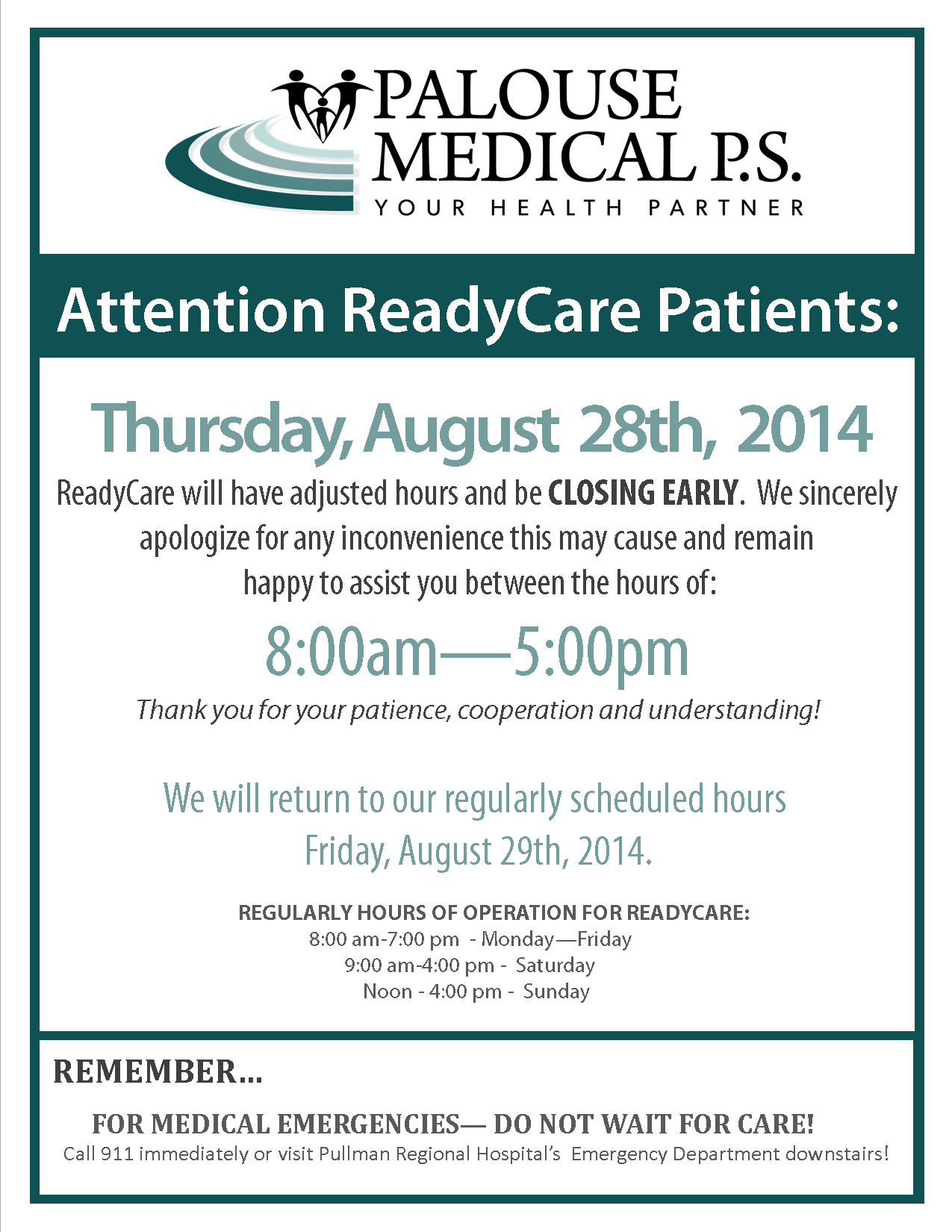 RC Closing Early Sign 2014 - Aug 28